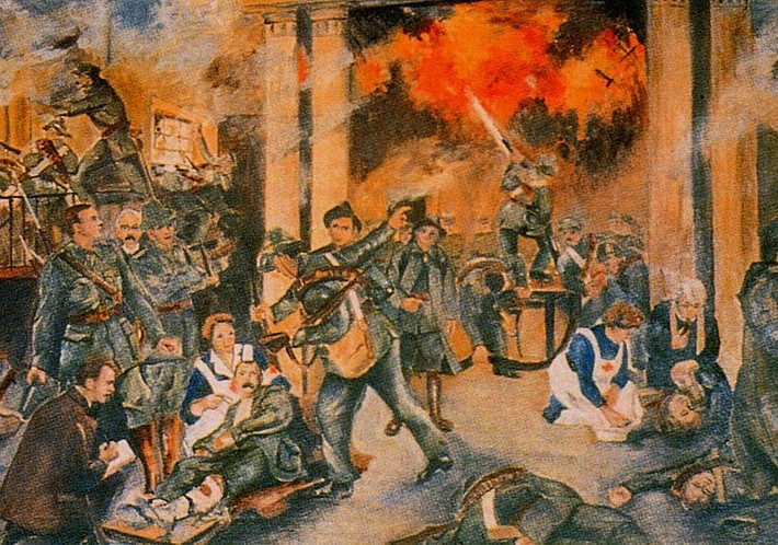 """Birth of the Irish Republic"" by Walter Paget, depicting the GPO during the shelling"