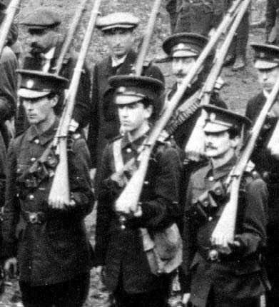 Group of Irish Volunteers on parade
