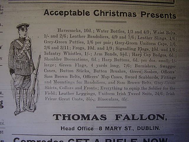 Uniformed Irish Volunteer advertisement 1915