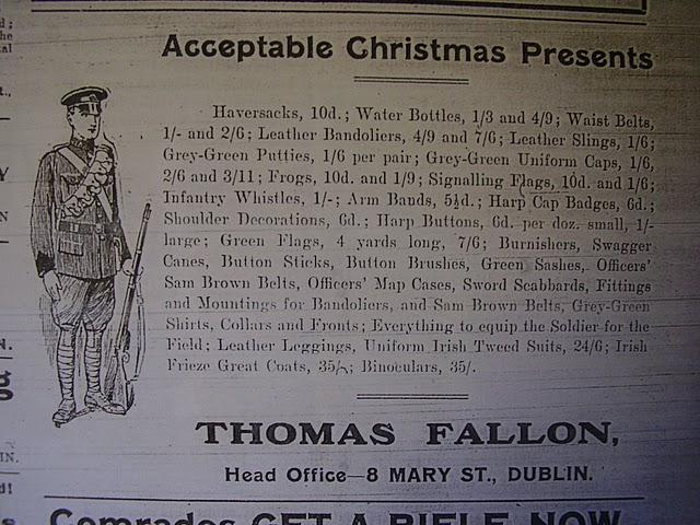 Uniformed Irish Volunteer advertisement 1915