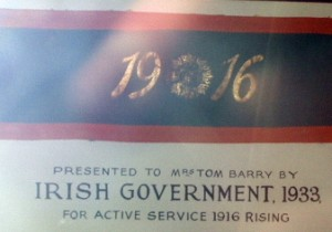 Tom Barry's wife Leslie's 1916 armband. Note the date, 17 years after the Rising.