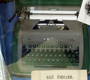 The typewriter with which Tom Barry wrote Guerilla days In Ireland, now on display in Cork City Museum.