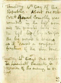 A page from Joe Plunketts note book 1916, written at the height of battle. In it he explains how connolly was shot and how bad his wounds were.