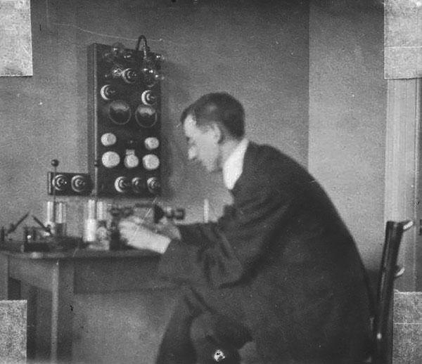 Joseph Plunkett working with his radio