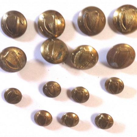 15 Irish Army brass buttons