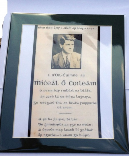 michael collins memorial death card